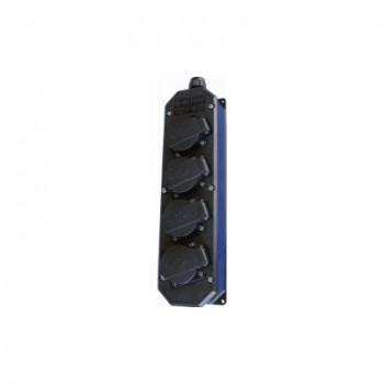 Contactdoos 4V zwart/kunststof met deksel