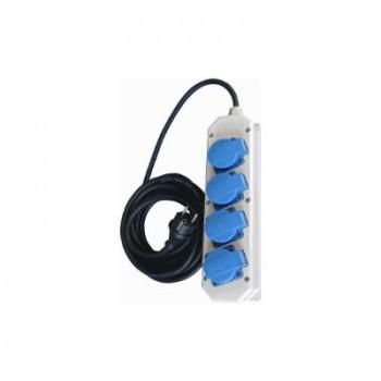 Contactdoos 4V grijs/kunststof met deksel (incl 5 meter snoer)