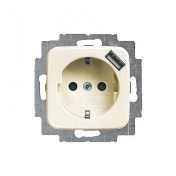 Busch-Jaeger SI Linear wandcontactdoos met USB randaarde