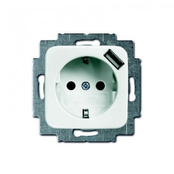 Busch-Jaeger SI Linear wandcontactdoos met USB randaarde alpinwit