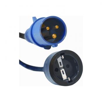 Ratio verloopsnoer van blauwe 2P+E CEE koppeling naar randaarde koppeling