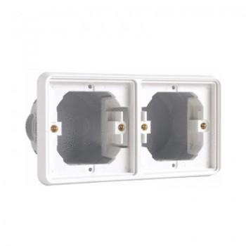 Niko Hydro horizontaal inbouwkader tweevoudig spuitwaterdicht (IP55) in het wit