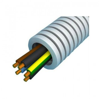 Kunststof installatiebuis 100 meter bedraad 16 mm, 5-aderig, bruin, blauw, geel/groen, zwart/rood, zwart/wit
