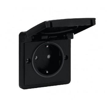 Niko Hydro 1-voudig wandcontactdoos met klepdeksel in het zwart