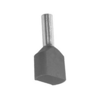 Twin geïsoleerde adereindhuls 0,75 mm2 in grijs. Per 100 Stuks.