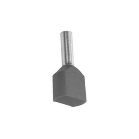 Twin geïsoleerde adereindhuls 4 mm2 in grijs