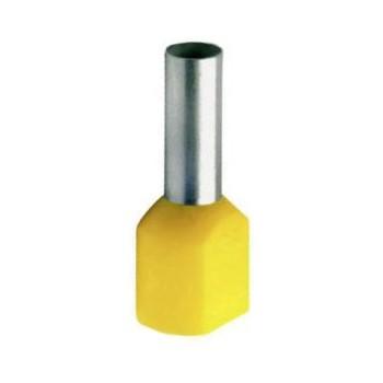 Twin geïsoleerde adereindhuls 6 mm2 in geel. Per 100 stuks.