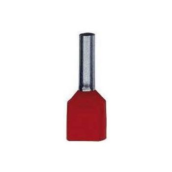 Twin geïsoleerde adereindhuls 10 mm2 in rood. Per 100 stuks.