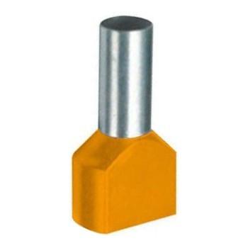 Twin geïsoleerde adereindhuls 0,5 mm2 in oranje. Per 100 stuks.