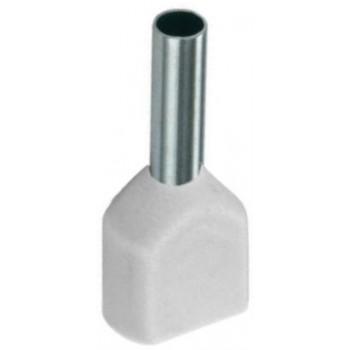 Twin geïsoleerde adereindhuls 0,75 mm2 in wit. Per 100 stuks.