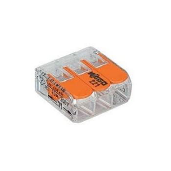 Wago transparante verbindingsklem 3-voudig met hefboombediening (tot en met 4mm2)