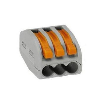 Wago 222-413 verbindingsklem 3 draads klem met hefboombediening (t/m 4mm2) ( per 50 stuks )