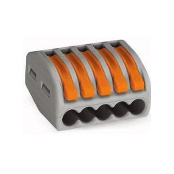 Wago 222-415 verbindingsklem 5 draads klem met hefboombediening (t/m 4mm2) (per 40 stuks)