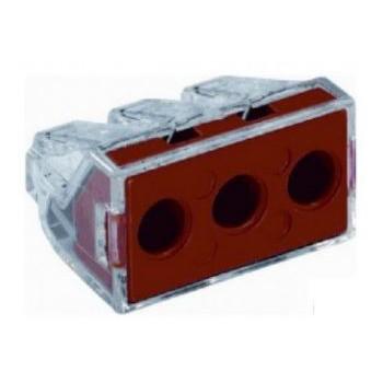Lasklem 3-voudig (3x6 mm2), transparant rood