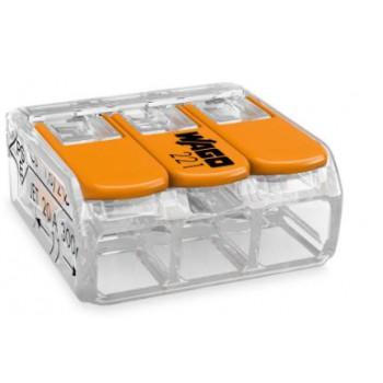 Wago transparante verbindingsklem 3-voudig met hefboombediening (tot en met 6mm2)