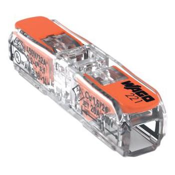 Wago 221-2411 transparante doorvoerklem 2-voudig met hefboombediening (t/m 4mm2) ( per 60 stuks )