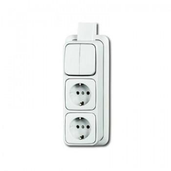 Busch Jaeger opbouw combinatie serieschakelaar + 2 stopcontacten (wcd) kleur wit